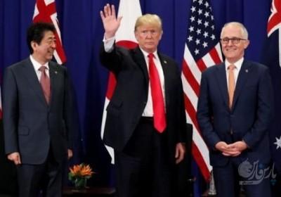 دیدار رئیس جمهور آمریکا با نخستوزیران استرالیا و ژاپن با محوریت کره شمالی