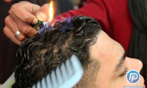 اصلاح حرفه ای موی سر با آتش/تصاویر